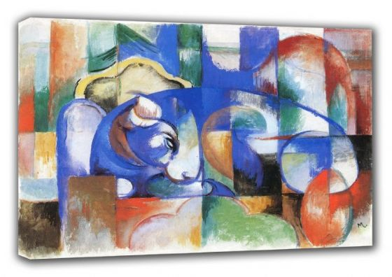 Marc, Franz: Lying Bull. Fine Art Animal Canvas. Sizes: A3/A2/A1 (00547)